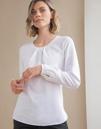 Ladies´ Pleat Front Long Sleeved Blouse